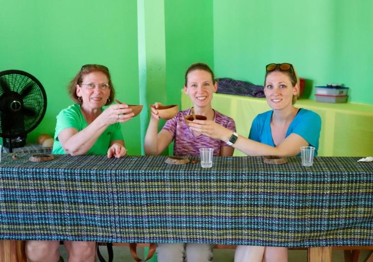 Drinking Mayan hot chocolate
