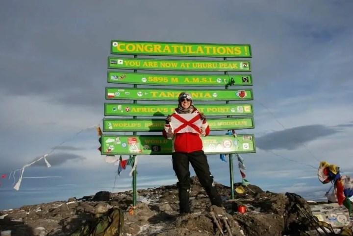 Emily atop Mt. Kilimanjaro
