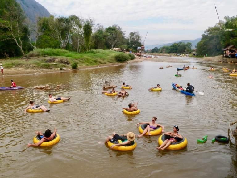 Tubers in the Nam Song River in Vang Vieng, Laos