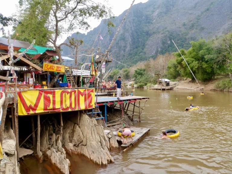 Riverside bar along the Nam Song River in Vang Vieng, Laos