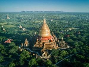 Aerial view of Myanmar temples