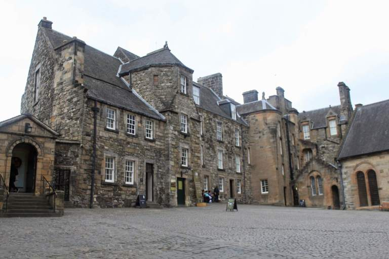 Courtyard at Stirling Castle with stone buildings