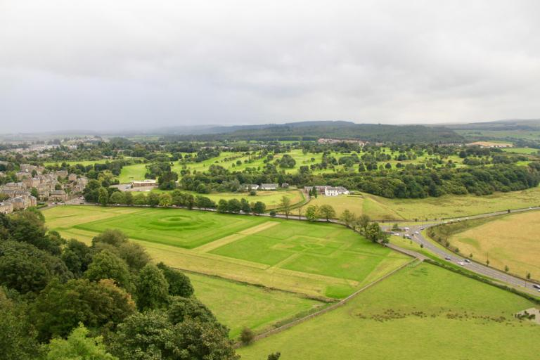 View from the battlements of green countryside