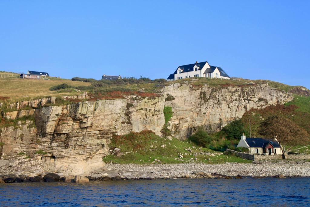 Cottages perched on cliffs near Elgol, Skye
