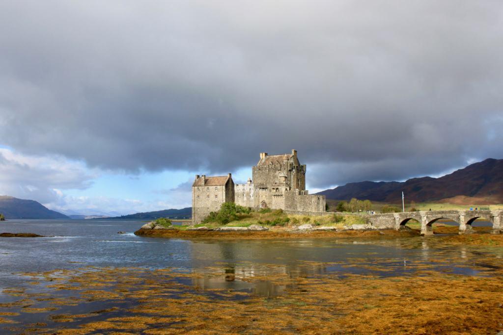 Eilean Donan Castle on a loch in Scotland