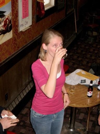 Gwen taking Sourtoe Cocktail shot