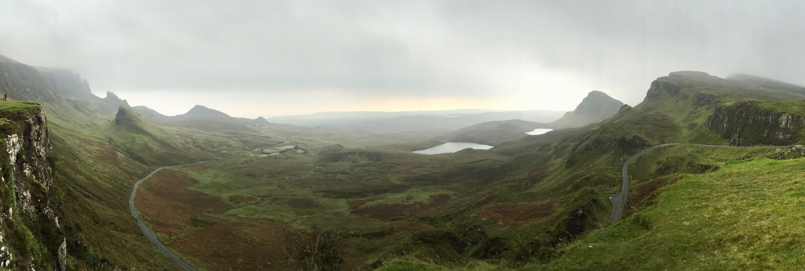Panorama of the Quiraing, quite possibly the most stunning spot on this Isle of Skye driving itinerary