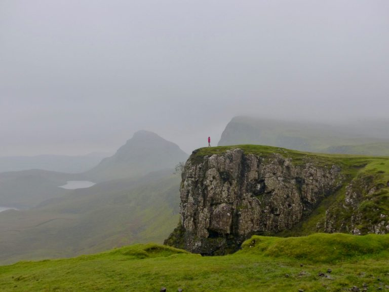 Gwen alone on mountain in the Quiraing