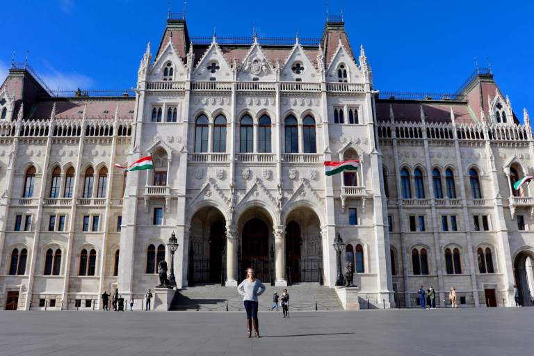 Gwen in front of the Hungarian Parliament Building