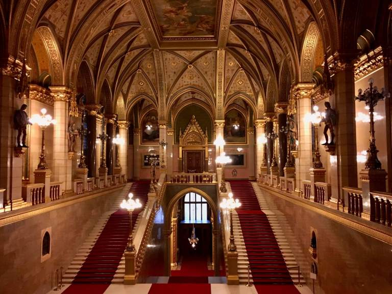 Grand Stairway in Hungarian Parliament Building