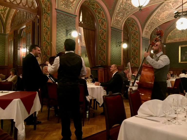 Interior of Karpatia Restaurant with string band
