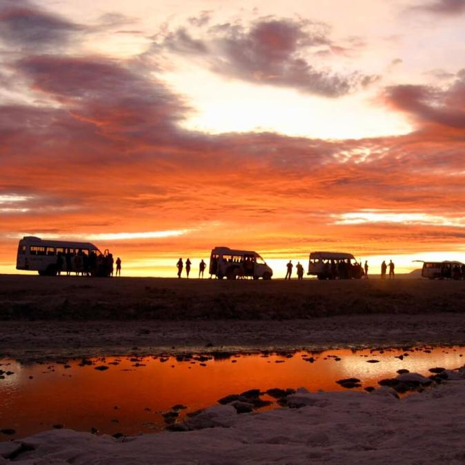 Red, orange, and purple sky over the Salar de Atacama