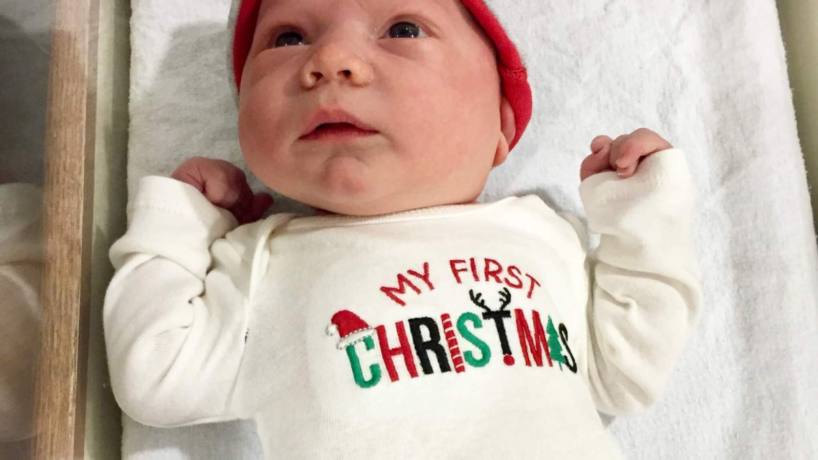 Baby E in hospital bassinet