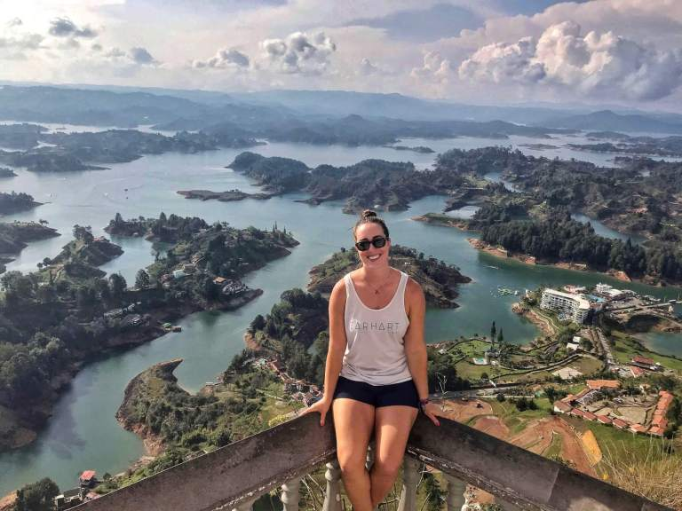 Michelle above beautiful lakes in Guatapé, Colombia