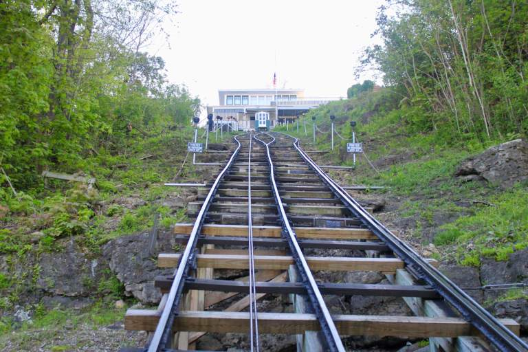 Looking up the steeply inclined tracks of the Fenelon Place Elevator