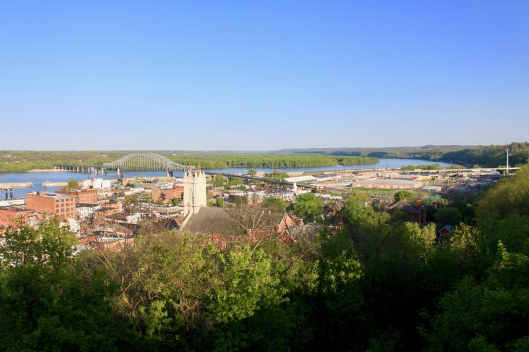 City of Dubuque along Mississippi River