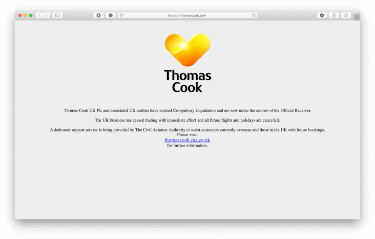 Landing page of Thomas Cook website stating that the company is being liquidated and all trips have been canceled.