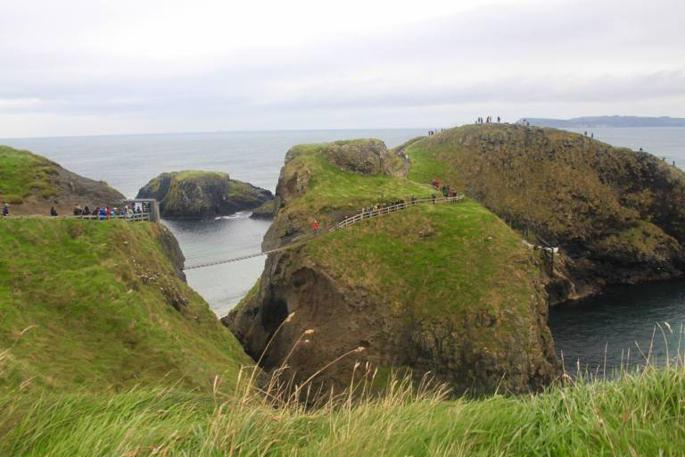 View of Carrick-a-Rede rope bridge and islands