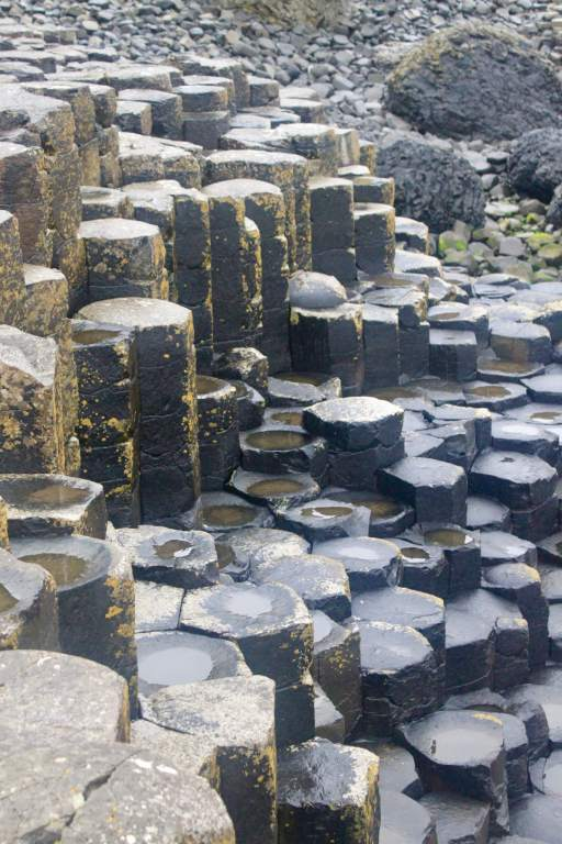 Close-up view of cylindrical rock formations on Giant's Causeway
