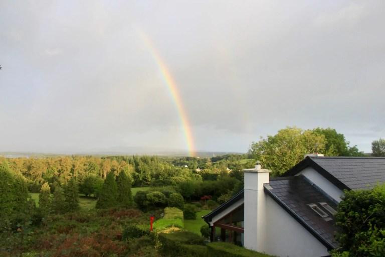 Vivid rainbow with fainter second rainbow over trees