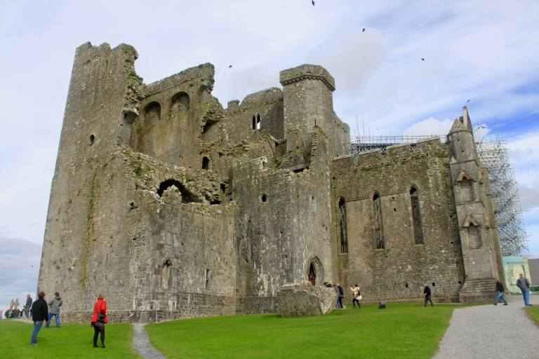 The imposing, ruined facade of the Rock of Cashel