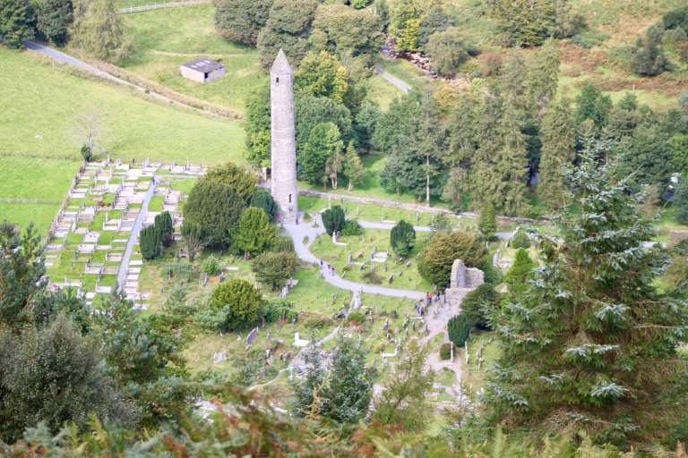 Aerial view of monastic ruins