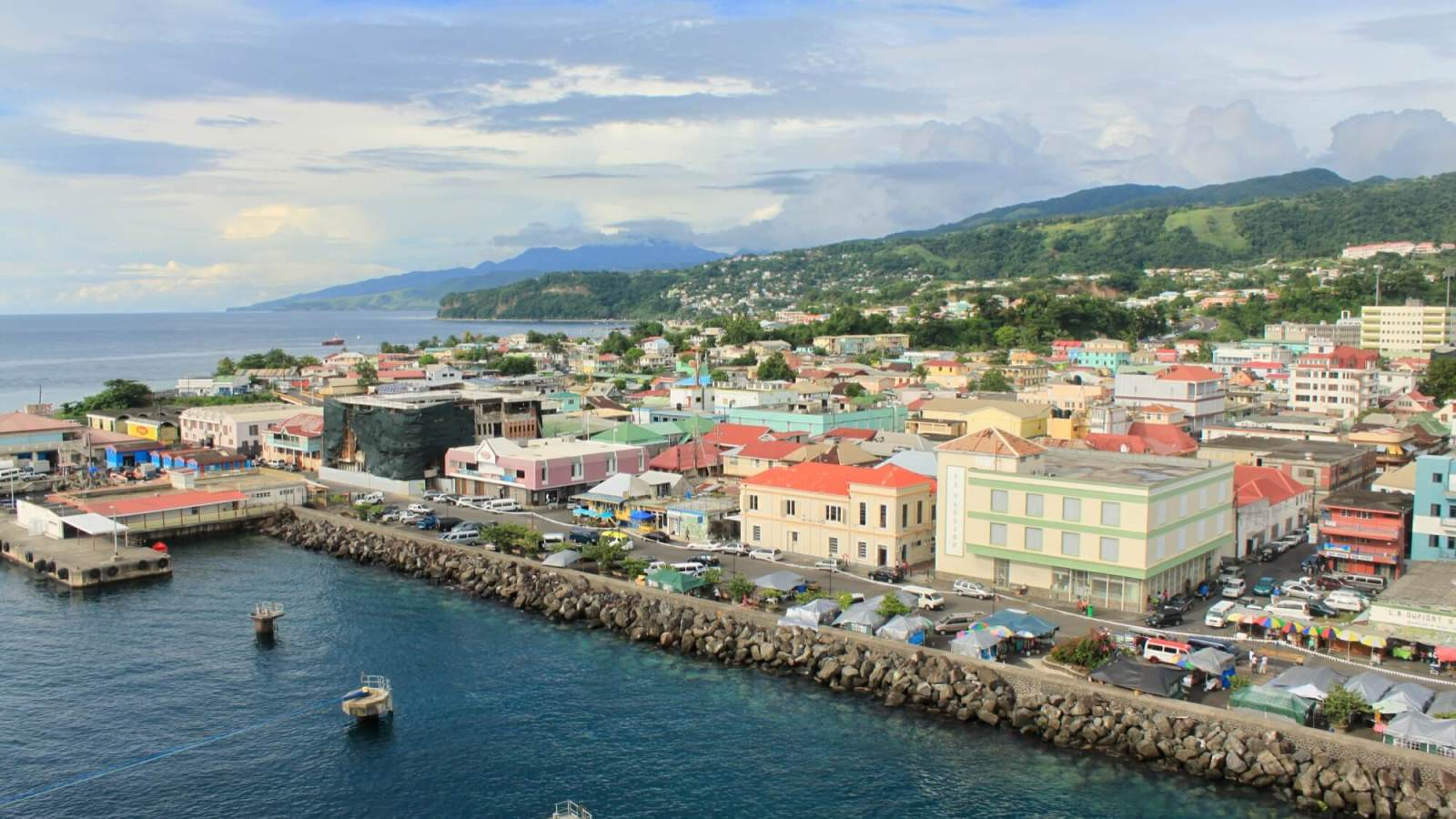 Roseau, Dominica, from the deck of a cruise ship