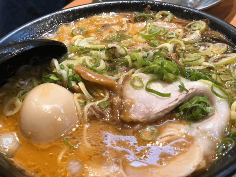 Close-up of a Japanese ramen dish with egg, noodles, and meat