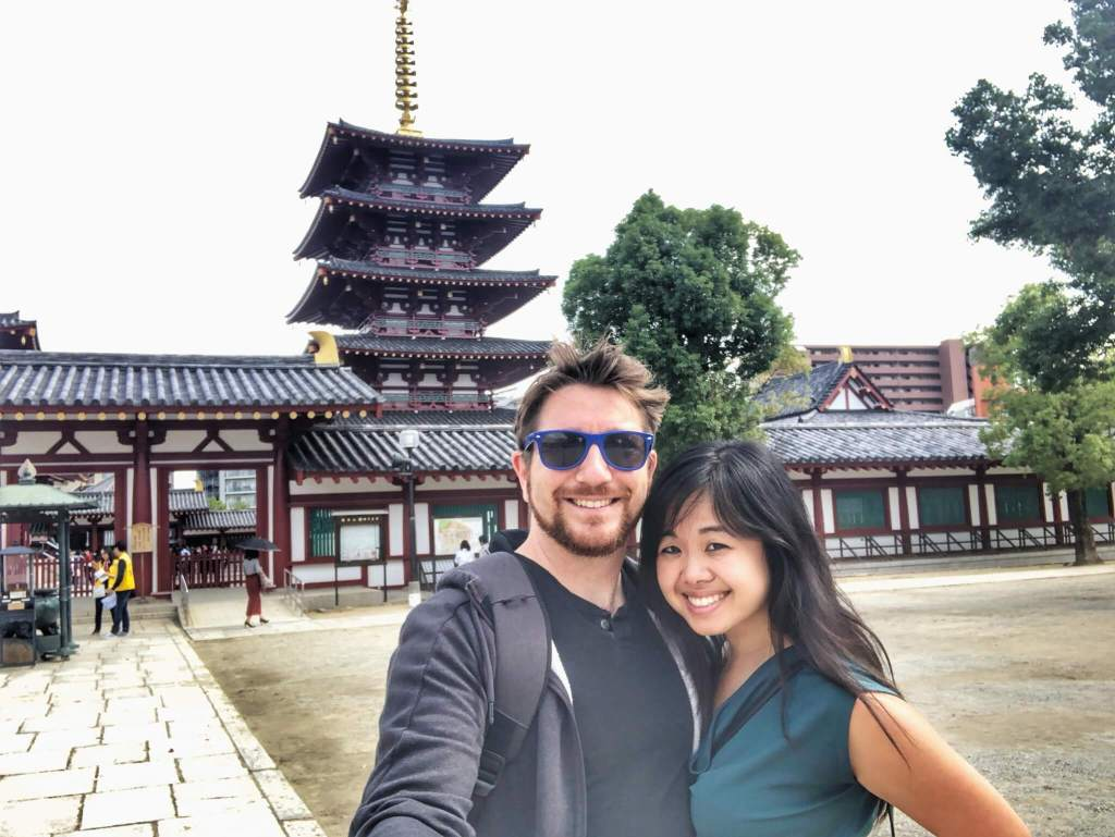 Jeff and Erica in front of Japanese architecture