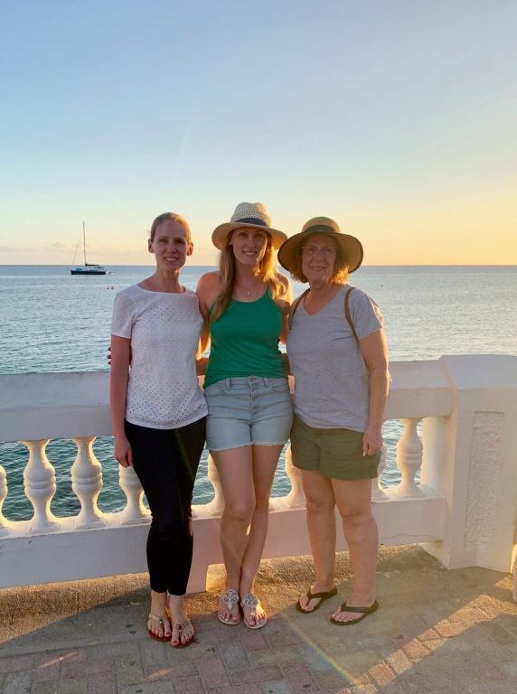 Gwen, Brooke, and Mom along the malecon in Esperanza, Vieques, at sunset