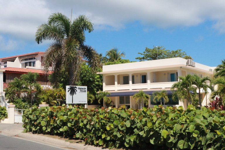 Front view of Malecon House ringed with palm trees and greenery