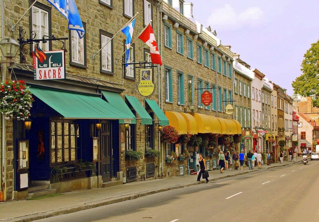 Stone storefronts on a street in Quebec City