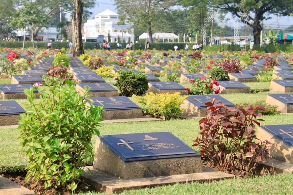 When visiting the Bridge on the River Kwai, it's good to stop and pay your respects at the nearby Kanchanaburi War Cemetery where its laborers are interred.