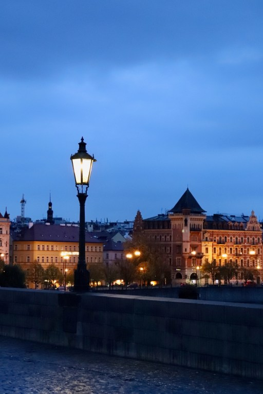 Lamppost and old buildings beyond