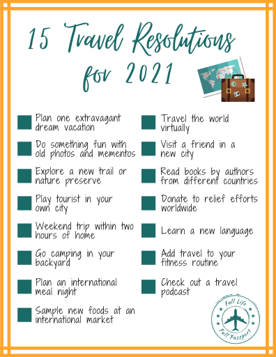 Use this checklist to tackle fifteen travel-related resolutions for 2021! Some are perfect for completing at home, others are great for when we can start taking small steps out into the world.