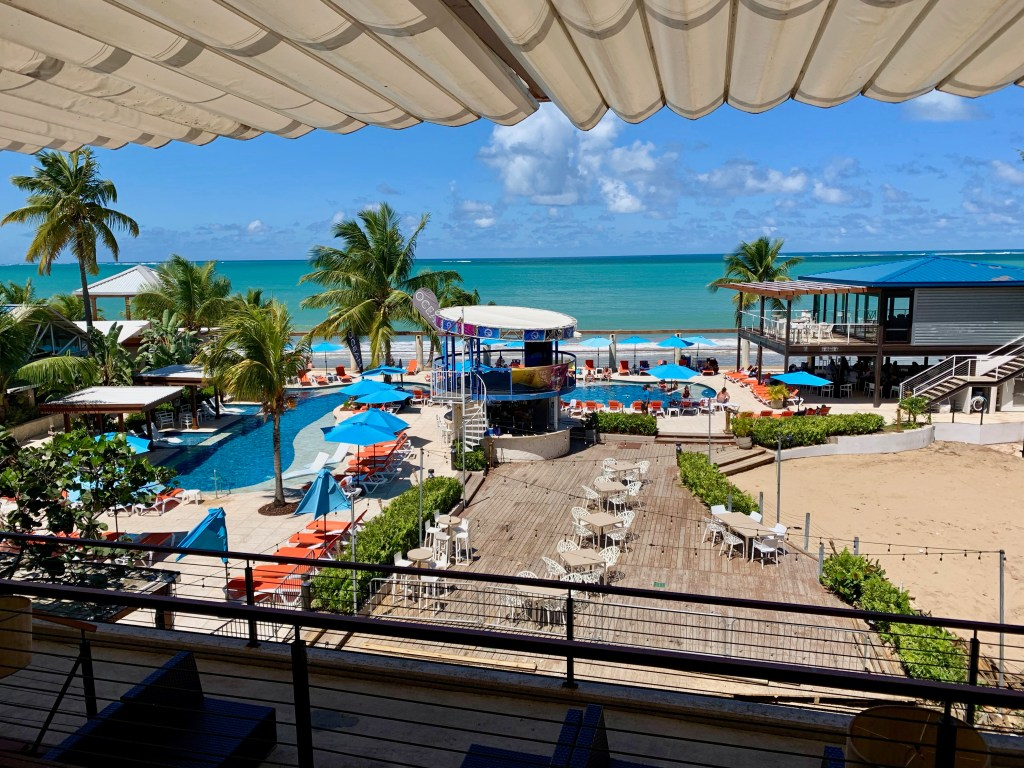 View of the Vivo Beach Club with the ocean beyond