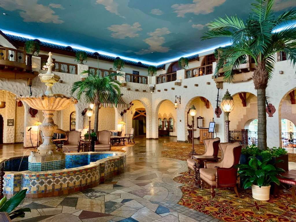 Mediterranean-inspired fountain lobby