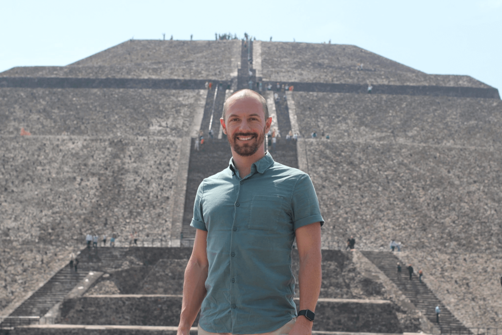 Max in front of a pyramid at Teotihuacan in Mexico