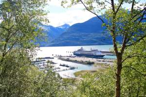 Cruise ship docked in Skagway, Alaska, as seen through trees