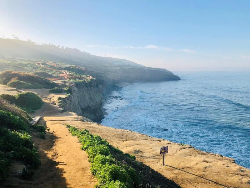 Beautiful trail along the cliffs with the ocean below