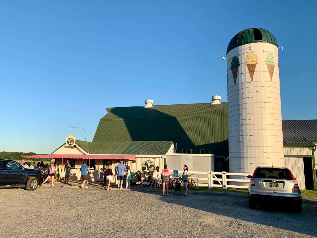 The barn, silo, and walk-up windows at Hopkins Farm Creamery