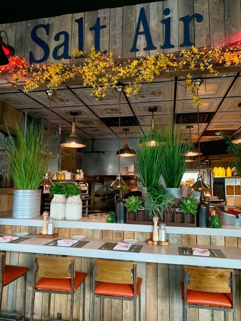 Bar and open kitchen at Salt Air