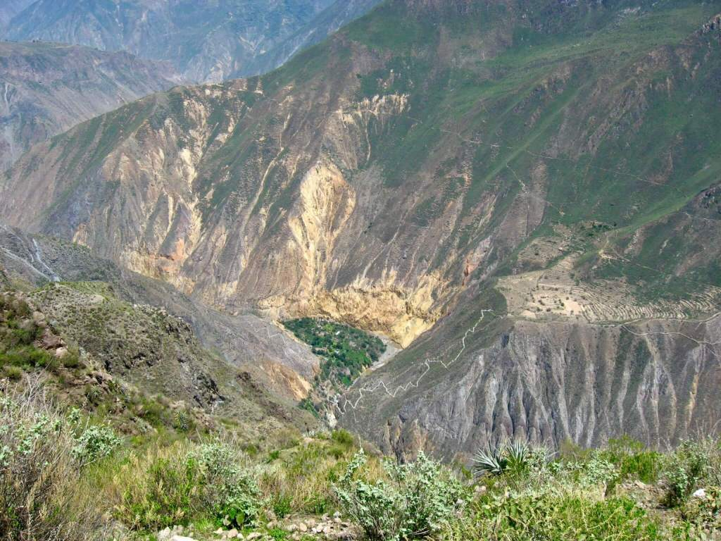 Looking down into Colca Canyon at a green oasis below