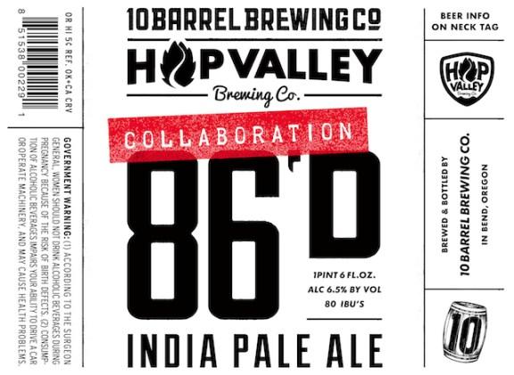 10 Barrel 86D IPA label