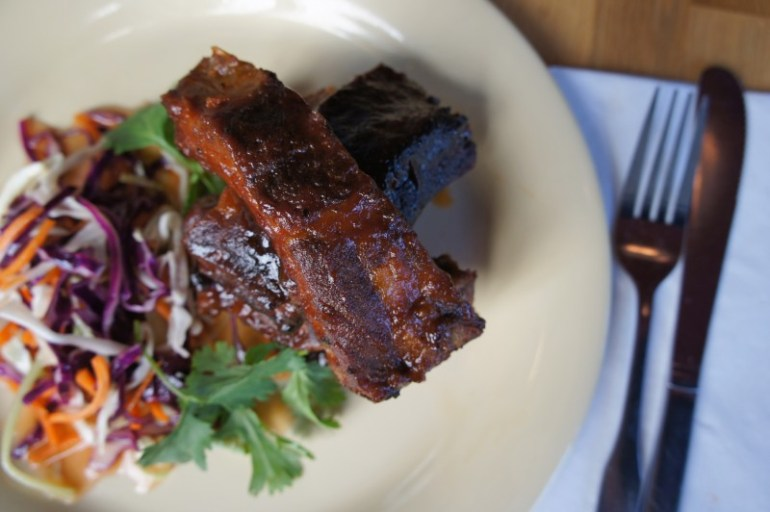 Beachwood BBQ - Braised Glazed Smoked Spare Rib with Sweet Spicy Vegetable Slaw