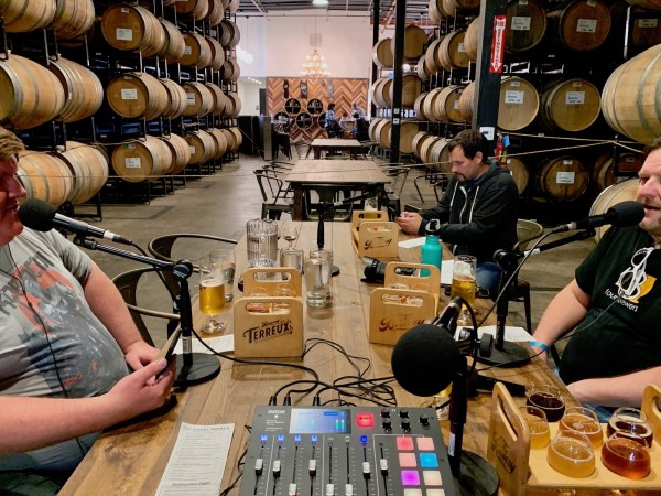 Pictured: Jason and Greg podcasting at Bruery Terreux tasting room.