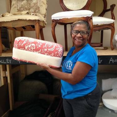 Gladys showing off her first finished ottoman!