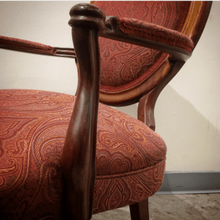 Detail: side chair, fabric by Barrow, trim by Fabric Supply, Minneapolis