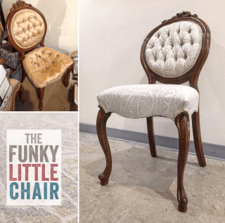 Tufted chair, fabric by Greenhouse