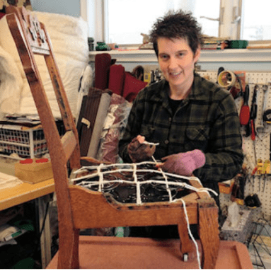 Instructor Sarah Sanna, owner of Everafter Upholstery
